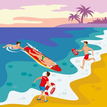 Beach lifeguards isometric poster with team of savers performing rescue operation of drowning man vector illustration