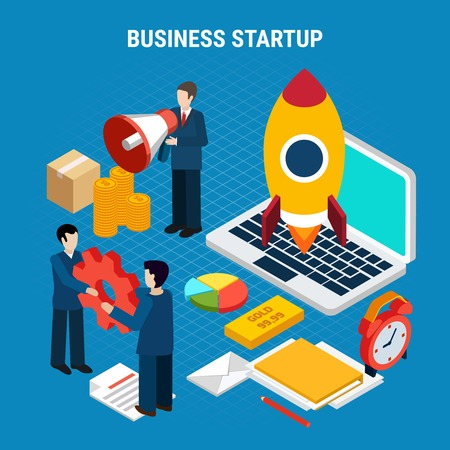 Digital marketing isometric concept with business startup tools on blue background 3d vector illustration