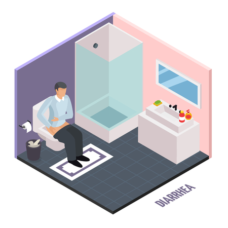 Probiotic isometric composition with human character suffering from diarrhea in toilet water closet room with text vector illustration
