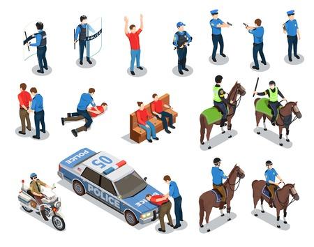 Le icone isometriche della polizia messe con i simboli di applicazione della legge hanno isolato l'illustrazione di vettore