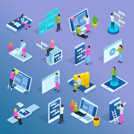 People and interfaces isometric icons collection with isolated conceptual icons electronic gadgets human characters and pictograms vector illustration