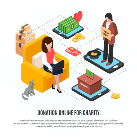 Donation online for charity design concept with begging homeless man and woman in comfortable home interior making sponsorship contribution isometric vector illustration