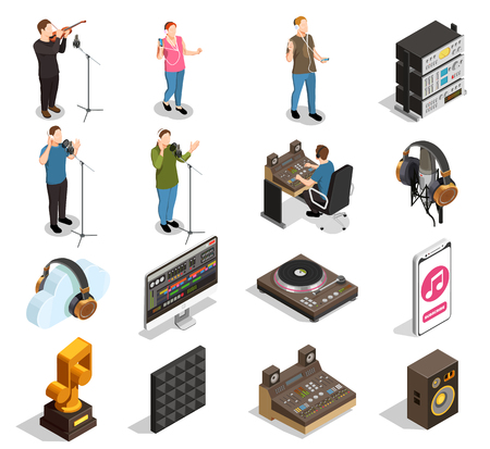 Music industry isometric icons set with recording studio symbols isolated vector illustration