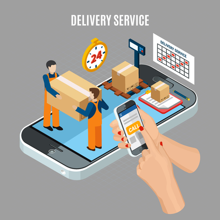 Logistics online delivery service concept with workers loading boxes 3d isometric vector illustration Illusztráció