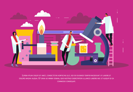 Science laboratory background with analysis and experiment symbols flat vector illustration