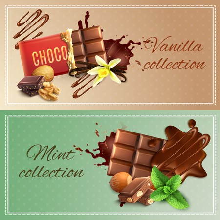 Realistic chocolate with nuts, vanilla and mint banners on textured background with stitched frame isolated vector illustration