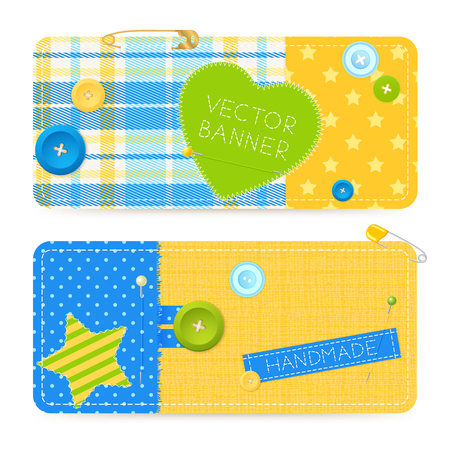 Two realistic horizontal cotton sewing banners set with safety pins buttons fastening handmade label isolated vector illustration 向量圖像