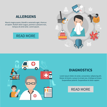 Flat set of horizontal banners with different allergens and allergy diagnostics isolated vector illustration