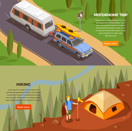Camping hiking isometric icons horizontal banners set with read more button editable text and trip images vector illustration