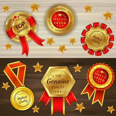 Awards realistic horizontal banners on wooden textured background with red golden medals and stars isolated vector illustration