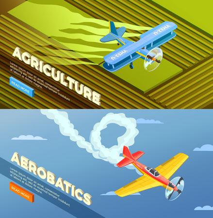 Airplanes helicopters isometric banners set with read more button and images of agricultural and aerobatic aeroplanes vector illustration