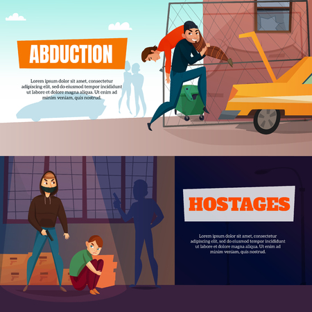 Criminals horizontal banners set with abduction and hostages symbols flat isolated vector illustration