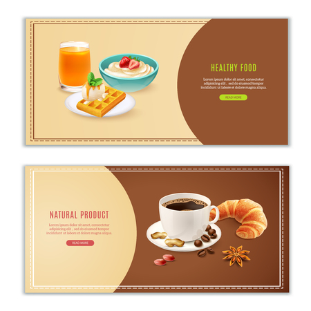 Realistic horizontal banners set with various spices cup of coffee waffle porridge and croissant isolated vector illustration Ilustração