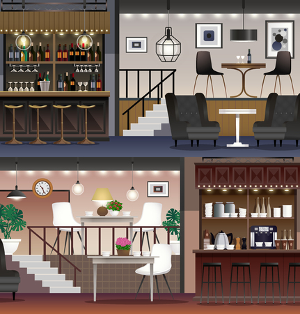 Coffee shop restaurant cafe bar interior realistic banners set with lighting wine shelves furniture isolated vector illustration  イラスト・ベクター素材