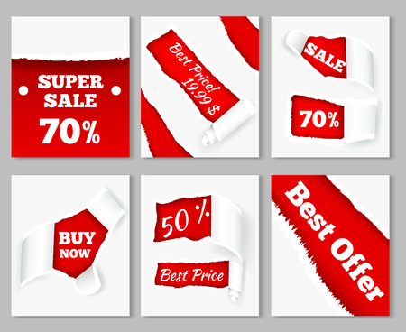 Torn paper curls revealing super sales discount prices on red background realistic cards set isolated vector illustration