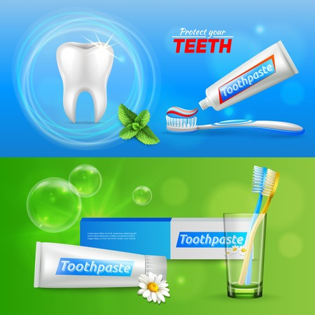 Dental oral care 2 realistic horizontal advertisement banners with tooth menthol and chamomile toothpaste isolated vector illustration