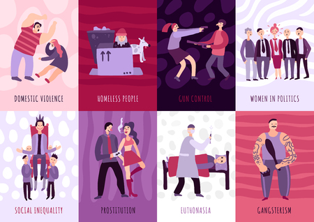 Social problems cards set illustrating gun control domestic violence homeless people euthanasia prostitution flat vector illustration Vettoriali