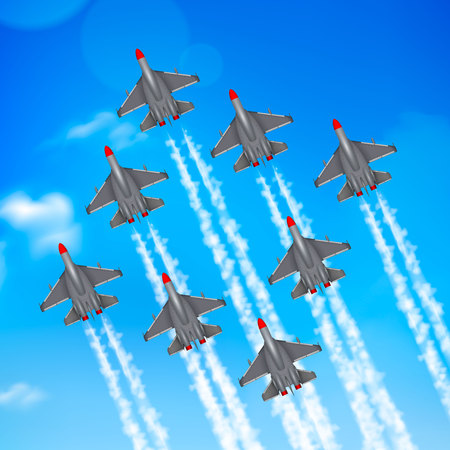 Army air force military parade jet airplanes formation condensation trails against blue sky realistic poster vector illustration Çizim