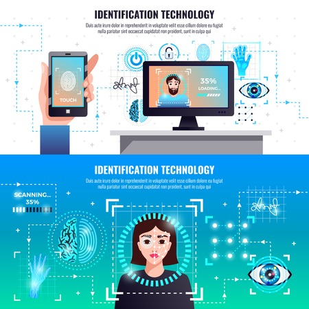Identification technology 2 infographic elements horizontal banners with face fingerprint signature recognition computer access control vector illustration Illustration