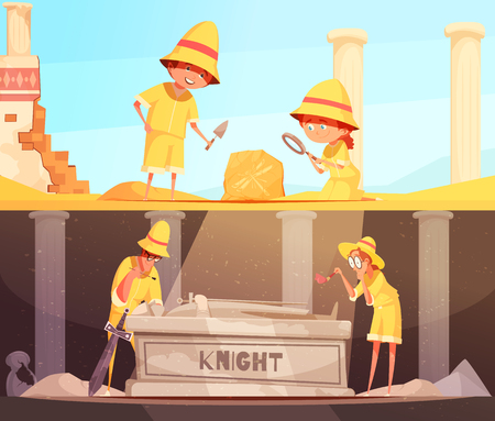 Archeology set of horizontal banners research of fossil and study of tomb of knight isolated vector illustration Illustration