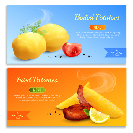 Boiled and fried potatoes decorated with red tomato dill and lemon realistic banners vector illustration