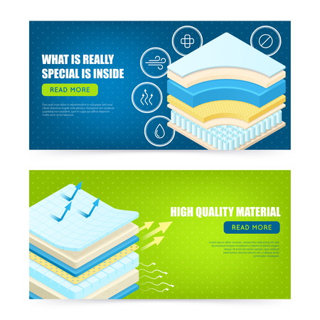 Best mattress high quality modern materials description 2 horizontal promotional web page design banners isolated vector illustration