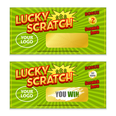 Scratch lottery game card with coating and revealed win 2 realistic horizontal images set isolated vector illustration