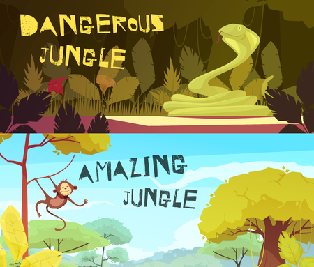 Dangerous and amazing jungle day and night set of horizontal cartoon banners isolated vector illustration