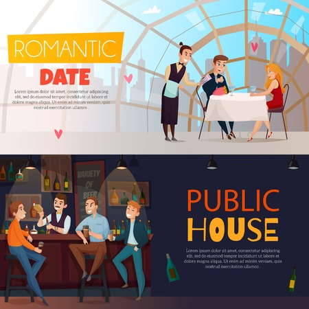 Two horizontal restaurant pub visitors horizontal banner set with romantic date and public house headlines vector illustration Illustration