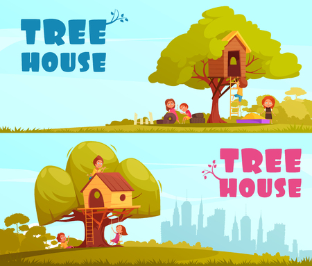 Tree house with children on blue sky background set of horizontal cartoon banners isolated vector illustration Illustration