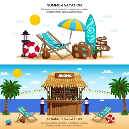 Summer vacation horizontal banners with tropical bungalow bar and set of accessories for beach holiday vector illustration