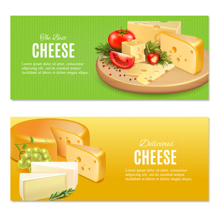 Realistic cheeses with spices and vegetables on green and yellow textured background horizontal banners isolated vector illustration  イラスト・ベクター素材
