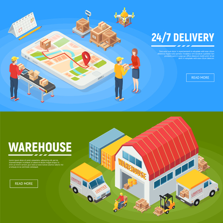 Logistics horizontal banners warehouse delivery trucks workers packed goods for round the clock service isometric vector illustration Illusztráció