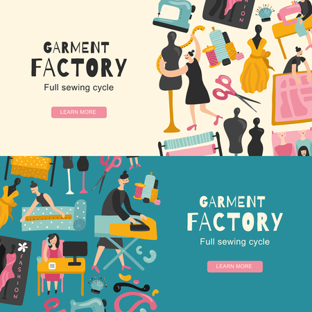Kledingstuk fabriek horizontale banners met pictogrammen met volledige naaien cyclus platte vectorillustratie