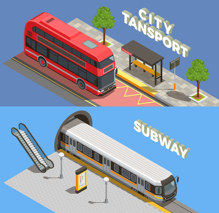 Public city transport isometric banners collection with horizontal compositions of text underground and surface transport vehicles vector illustration Illustration