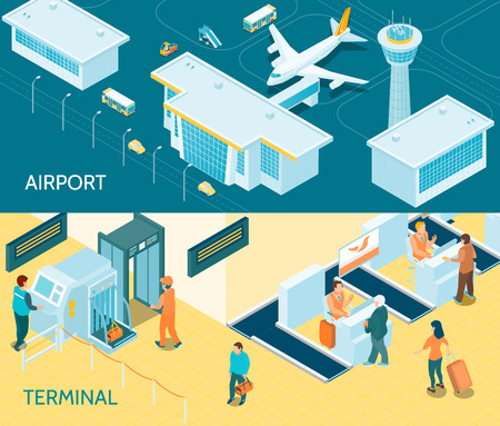 Airport horizontal banners with passengers passes transport security scan tape portal for baggage control isometric vector illustration Illustration