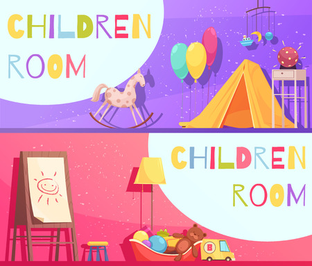 Children room horizontal cartoon banners on pink and violet background with interior elements isolated vector illustration Illustration