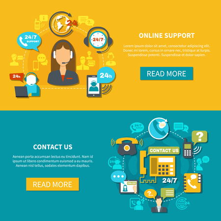 Set of horizontal banners on yellow turquoise background with online support and contact us isolated vector illustration