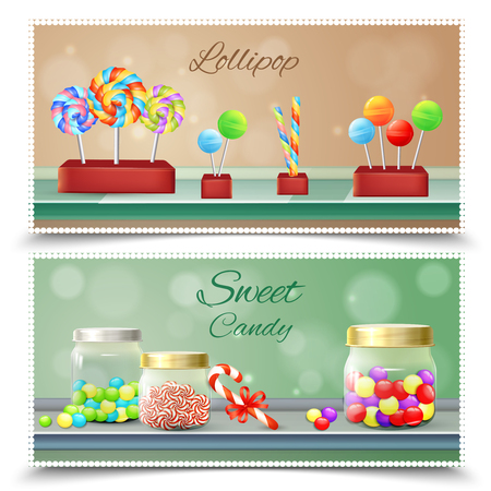 Sweet candies and lollipops on shelves set of horizontal banners on blurred background isolated vector illustration