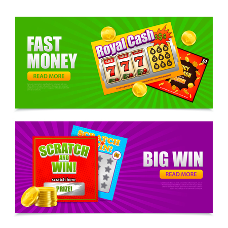 Lottery 2 colorful advertising horizontal  banners design with scratch big win fast money games cards vector illustration