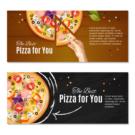 Realistic pizza on chalk board and hand with piece of italian dish, horizontal banners isolated vector illustration Иллюстрация