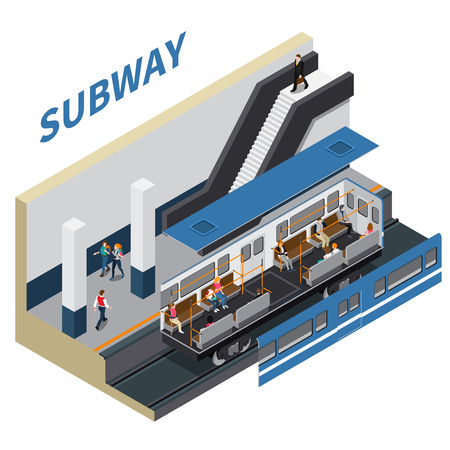 Subway isometric composition of metro station vestibule with moving staircase train and passenger vector illustration