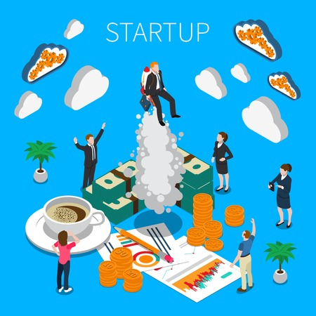 Business startup isometric composition with business icons and people united in teamwork  group watching successful quick start of business vector illustration