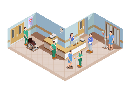 Medical equipment isometric composition with hospital lobby interior and health care workers in uniform with patients vector illustration