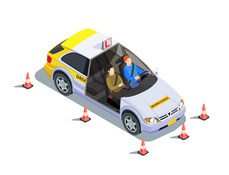 Driving school isometric composition with images of instructor and learner in car surrounded by safety cones vector illustration