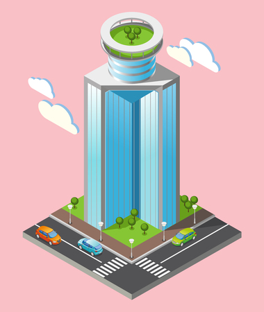 3d isometric futuristic skyscrapers composition with part of the city with roads and tall buildings on pink background vector illustration