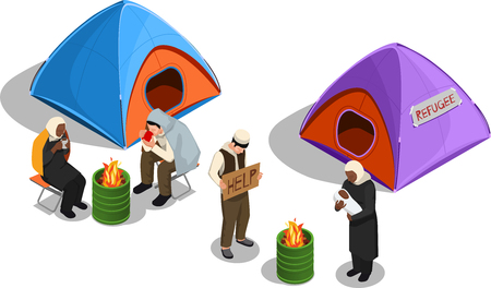 Stateless refugees asylum icons isometric composition with images of tents and group of displaced person characters vector illustration Illustration