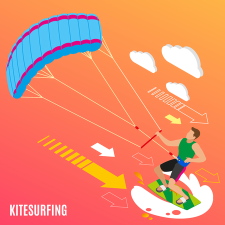 Man with blue parachute on green board during kite surfing on orange background isometric vector illustration Illustration
