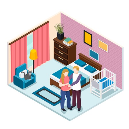Expectation baby isometric composition, young man hugging pregnant woman in bedroom with child cot vector illustration