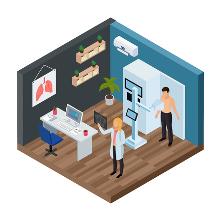 Tuberculosis prevention isometric concept  with lungs test symbols vector illustration